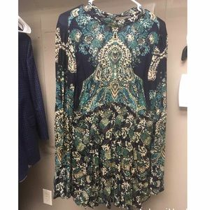 Free People blue floral long sleeve tunic/dress